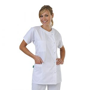 Label blouse Tunique médicale Col rond 3 poches manches courtes Piqué aspect cotelé moderneCouleurs Blanc Pressions inoxydables Lavage Machine 90 degrés ou industriel T2-40/42