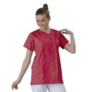 Tunique médicale Blouse médicale courte de travail en Couleur col rond manches courtes 3 poches couleur Tissu lavable machine serge Corail T2
