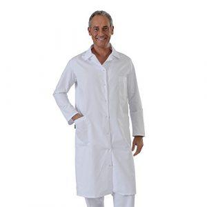 Label blouse Blouse Blanche manches manches longues chimie laboratoire médical Sergé 210 gramme Couleurs Blanc Pressions inoxydables Lavage Machine 90 degrés ou industriel T3-44/46