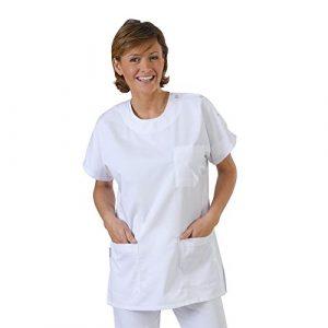 Label blouse Tunique médicale col rond pressions épaules 3 poches Piqué aspect cotelé moderneCouleurs Blanc Pressions inoxydables Lavage Machine 90 degrés ou industriel T0-36