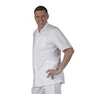 Label blouse Tunique médicale homme col officier 3 poches fermeture pressions Sergé 210 gramme Couleurs Blanc Pressions inoxydables Lavage Machine 90 degrés ou industriel T4-48/50