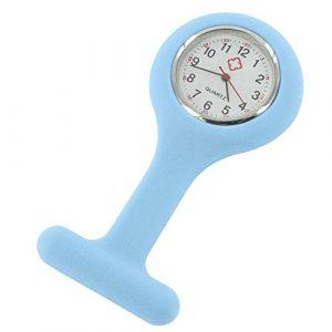 Montre infirmière Hopital idéal pour pulsation et lavage des mains coloris silicon bleu ciel