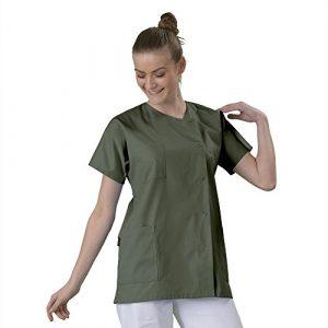 Tunique médicale Blouse médicale courte de travail en Couleur col rond manches courtes 3 poches couleur desto serge Kaki T1