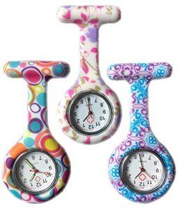 Boolavard® TM 3pcs Flowers Silicone Supervision de l'infirmière Médecin Paramédic Tunique Broche Montre Fob Medical Watch, Pack of 3