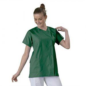 Tunique médicale Blouse médicale courte de travail en Couleur col rond manches courtes 3 poches couleur Tissu lavable machine serge Vert foncé T2