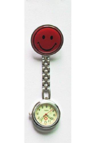 Colletion& Joy Montre gousset à quartz phosphorescente pour infirmière, médecins, sages-femmes Motif Smiley Acier inoxydable