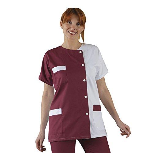Label Blouse Tunique médicale Col rond 3 poches manches courtes Sergé 210 gramme Couleurs Blanc Bordeaux Pressions inoxydables Lavage Machine 90 degrés ou industriel T5-52/54