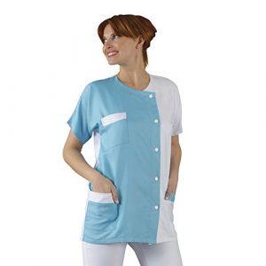 Label Blouse Tunique médicale Col rond 3 poches manches courtes Sergé 210 gramme Couleurs Blanc Turquoise Pressions inoxydables Lavage Machine 90 degrés ou industriel T1-38/40