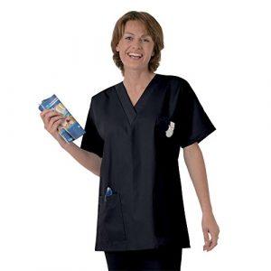 Blouse médicale type tunique col V idéale blouse vétérinaire blouse dentiste blouse pharmacie popeline 65/35 Dark 825 T3 -44/46