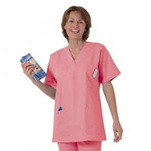Blouse médicale type tunique col V idéale blouse vétérinaire blouse dentiste blouse pharmacie popeline 65/35 Panter pink 533 T0 – 36