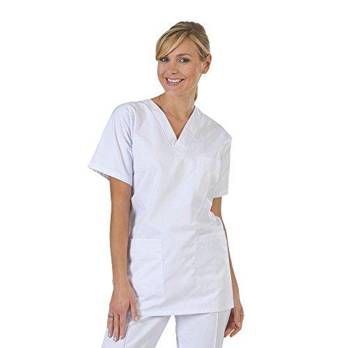 Blouse médicale type tunique col V idéale blouse vétérinaire blouse dentiste blouse pharmacie popeline 65/35 White 001 T1 – 38/40