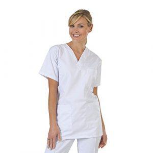 Blouse médicale type tunique col V idéale blouse vétérinaire blouse dentiste blouse pharmacie popeline 65/35 White 001 T4 -48/50