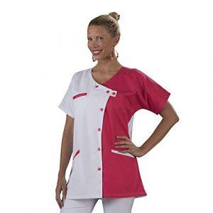 Label blouse Tunique blouse médicale couleur moderne 3 poches passe poiles Fermeture asymétrique Sergé 210 gramme Couleurs Blanc Rose Pressions couleurs Lavage Machine 90 degrés ou industriel T2-40/42