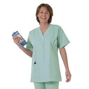 Blouse médicale type tunique col V idéale blouse vétérinaire blouse dentiste blouse pharmacie popeline 65/35 Nil green 813 T1 – 38/40