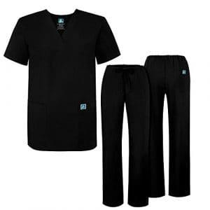 Adar Ensemble Uniformes pour Homme Blouse – Uniforme Médical avec Haut et Pantalon – 701_M Couleur: BLK   Taille: M