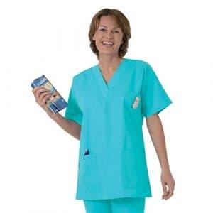 Blouse médicale type tunique col V idéale blouse vétérinaire blouse dentiste blouse pharmacie popeline 65/35 Turquoise 806 T5 -52/54
