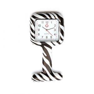 Homeofying Coque en silicone montre infirmière Tunique Broche FOB montre avec gratuit de la batterie Doctor Medical NEUF–Style B Blanc Zebra