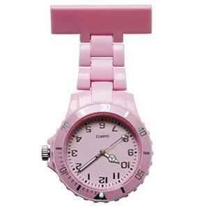 Montre d'infirmier en acier inoxydable Luminous Nurse montre de poche à quartz avec broche Medical Montre de poche (Rose)