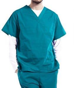 Nanxson TM Ensemble Veste et Pantalon Médical Uniforme de Labo Blouse Unisexe en Coton CF9027 (Homme Vert, XXL)