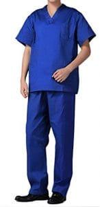 Nanxson(TM Ensemble Veste et Pantalon Médical Uniforme de Labo Blouse Unisexe en Coton CF9027 (Homme Bleu, M)