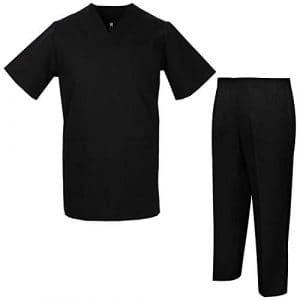 Misemiya – Ensemble Uniformes Unisexe Blouse – Uniforme Médical avec Haut et Pantalon – Ref.8178 – Large, Noir