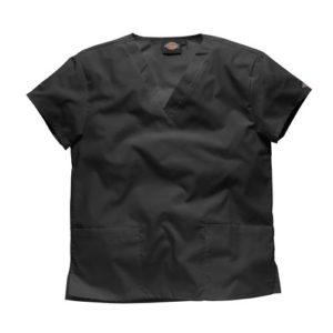 Dickies Workwear Chemise de médecin avec 2poches et col en V – noir – L