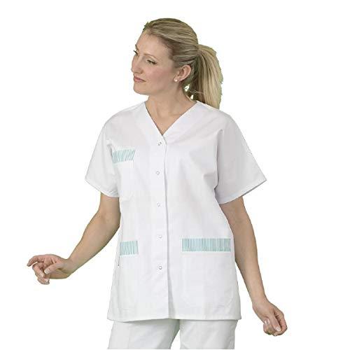 Label Blouse Tunique médicale Mixte Manches Courtes Blanches col V fermture Centrale par Pressions avec Finition Parement rayé Vert sur Poches