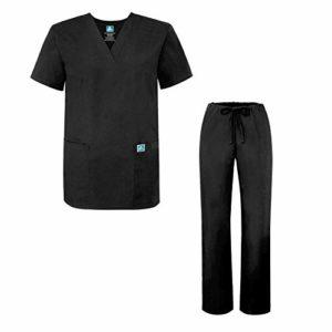 Adar Ensemble Uniformes Unisexe Blouse – Uniforme Médical avec Haut et Pantalon – 701 Couleur: BLK   Taille: 4X
