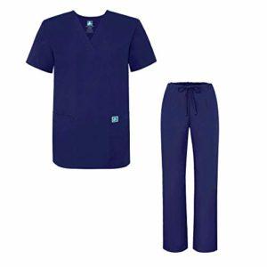Adar Ensemble Uniformes Unisexe Blouse – Uniforme Médical avec Haut et Pantalon – 701 Couleur: NVY | Taille: XL