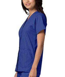 Adar Uniforms Uniformes Médicaux pour Femmes Double Poche Avant à Fermoir Blouse d'Infirmière Haut d'Hôpital – 604 Couleur: RYL | Taille: M