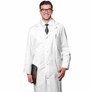 AIESI Blouse en coton pour médecin, sanforisé, 100 % blanc, pour homme–Fabriqué en Italie
