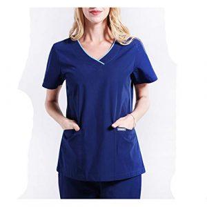 CX ECO Uniformes médicaux Scrub pour Femmes Hôpital Vêtements de Travail médicaux Soins Infirmiers Soins de santé Uniformes col V + Pantalons avec 2 Poches,S