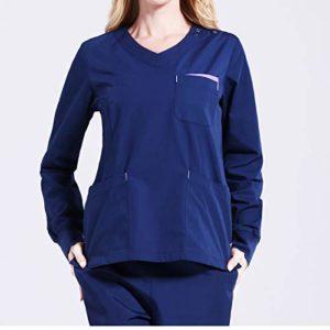 CX ECO Vêtements de Travail hospitaliers Professionnels unisexisés Uniformes médicaux Plusieurs Poches Anti-Rides infirmière Gommage Haut à Manches Longues + Pantalons,Blue,M