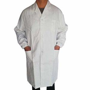 DEELIN Homme et Femmes Unisexe Chemise Médicale Laboratoire de Chimie Manteau Outerwear Manches Longues Médecins Uniforme de Travail Blouse Blanche Tunique Top