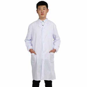 DEELIN Homme et Femmes Unisexe Chemise Médicale Laboratoire de Chimie Manteau Outerwear Manches Longues Médecins Uniforme de Travail Blouse Blanche Tunique Top Long