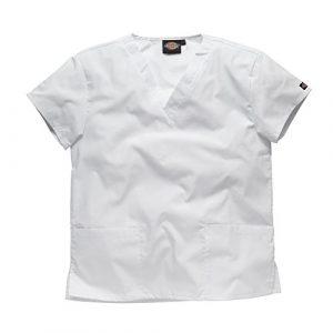 Dickies Workwear Chemise de médecin avec 2poches et col en V – blanc – L