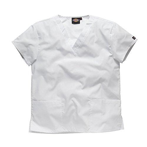 Dickies Workwear Chemise de médecin avec 2poches et col en V – blanc – M