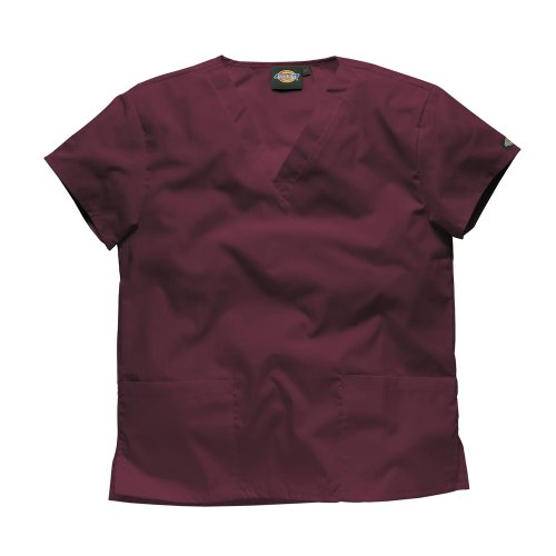 Dickies Workwear Chemise de médecin avec 2poches et col en V – rouge – S
