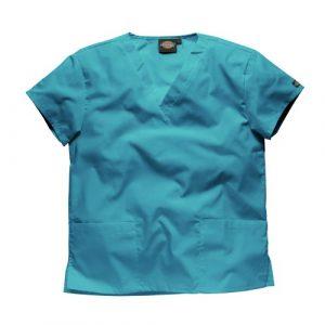 Dickies Workwear Chemise de médecin avec 2poches et col en V – turquoise – XL