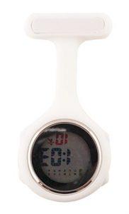 Ellemka JCM-330 Montre Infirmiere Digital-e Numerique LCD FOB de Tunique EL Retro-Eclairage à Clip Attache Epingle Broche Silicone Mouvement Quartz Docteur Paramedical Couleur Blanche.