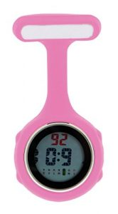 Ellemka JCM-330 Montre Infirmière Digital-e Numérique LCD FOB de Tunique EL Rétro-Eclairage à Clip Attache Epingle Broche Silicone Mouvement Quartz Docteur Paramédical Couleur Rose Pink