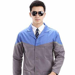 ESENHUANG Unisex Medical Vêtements Manteaux Unisexe Laboratoire Infirmière Porter Uniformes Uniformes Médecin À Manches Longues Veste
