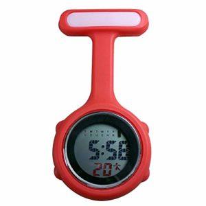 Gu3Je Mode Fob Infirmière Broche Accrocher Poche électrique Montre numérique Affichage Cadran Clip-Montres Montre de Poche Montre Broche (Color : Red)