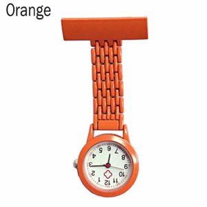 Gu3Je Mode Infirmière Quartz Poche Broche Broche Clip médical infirmière Montre de Poche Montre Broche (Color : Orange)
