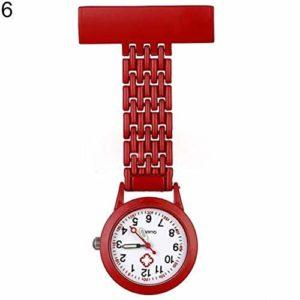 Gu3Je Mode Les Femmes Stylish Girl Quartz Analogique Métal Broche Infirmière Fob Montre Cadeau Montre infirmière Montre Broche (Color : Red)