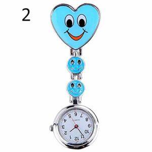 Gu3Je Mode Populaire Femmes Mignon Sourire Faces Pendentif Clip-Coeur infirmière Fob Broche Montre de Poche Montre Broche (Color : Blue)