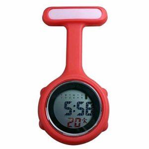 Gu3Je Mode Vide-Poches d'affichage numérique Montre Mode féminine Dial Fob Infirmière Broche Accrocher électrique Montre New Fob Montre Broche (Color : Red)