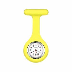 Infirmière Montre de Poche en Silicone Mouvement Quartz avec Aiguille/Clip Caregiver Broche Lapel Hanging médicale Montre de Poche (Color : Yellow)