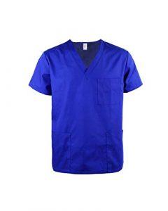 JONATHAN UNIFORM Haut Blouse Médical Mâle avec Col V et Poche Classique Doux Uniforme d'Hôpital Souple Scrub Top (Bright Blue, L)