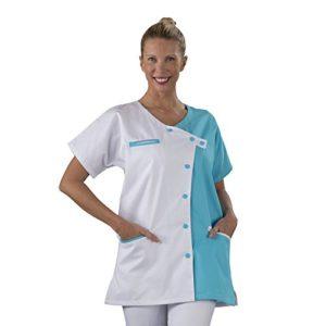 Label blouse Tunique blouse médicale couleur moderne 3 poches passe poiles Fermeture asymétrique Sergé 210 gramme Couleurs Blanc Bleu Pressions couleurs Lavage Machine 90 degrés ou industriel, Blanc, Bleu, T5-52/54